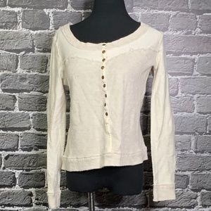 WE THE FREE Free People Distressed Thermal Top XS